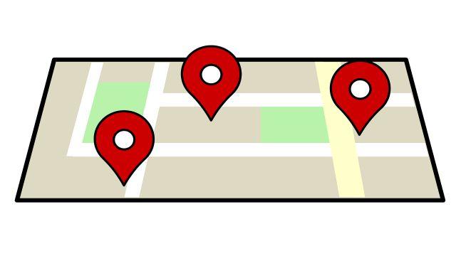 """前置詞""""at""""が地点を表すイメージを伝えるための地図イラスト"""
