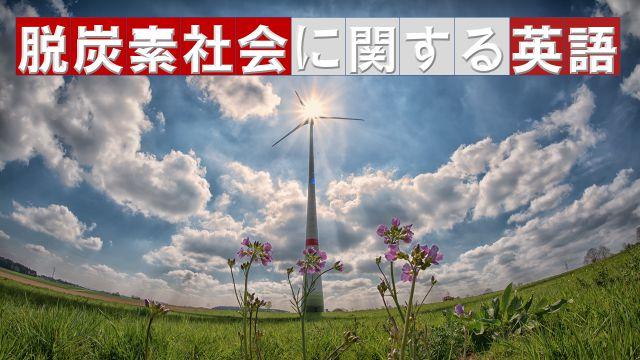 野原の花をバックに風力発電機がある景色