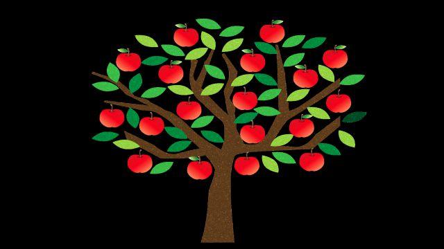 気にぶら下がっているリンゴの実