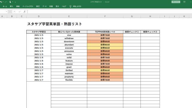 スタサプ利用終了後の英語学習を継続させるための単語リストのサンプル