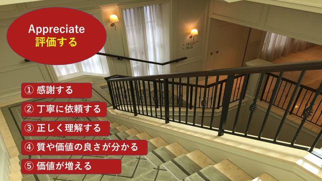 """価値と品があるホテルの室内を背景に英単語""""appreciate""""の5つの意味を並べた画像"""