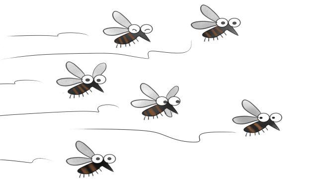 蚊がぶんぶん頭の周りを飛び、ウザイと感じるイラスト