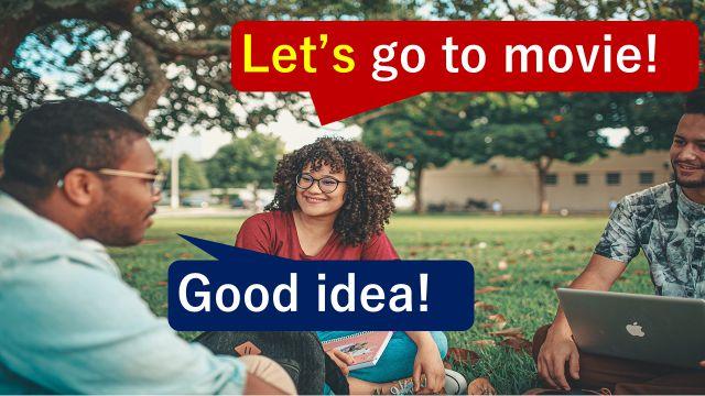 """""""Let's~""""で誘いの英語表現になる(大学のキャンパスで会話している大学生)"""