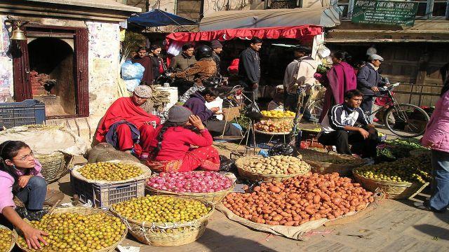 講師が住むネパールの野菜市場。豆やショウガ、ニンニクなどを家庭料理によく使うとのことでした。