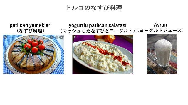 講師が好きなトルコの食べ物と飲み物の写真。トルコ人はナスが大好きで料理の種類も多いらしい。